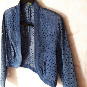 Vintage Danier Suede Blue Crop Jacket w/Cut Outs S